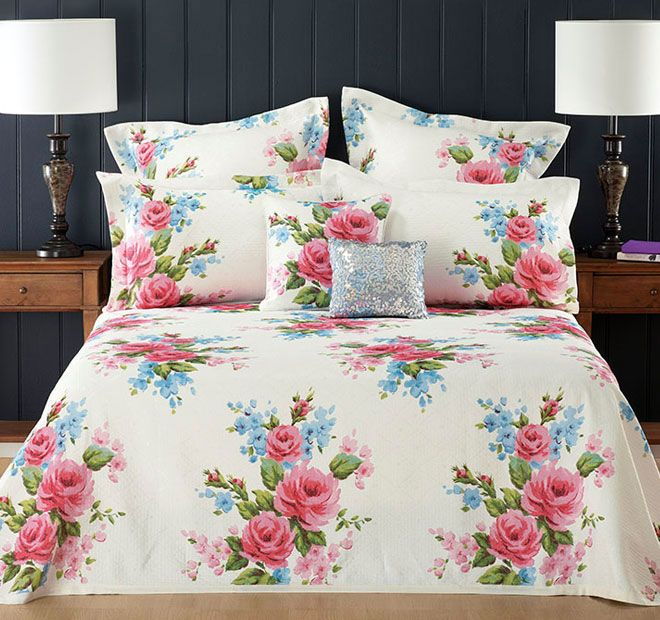Winifred Pink - Polyester and cotton,  Jacquard, Printed - #bedspreads