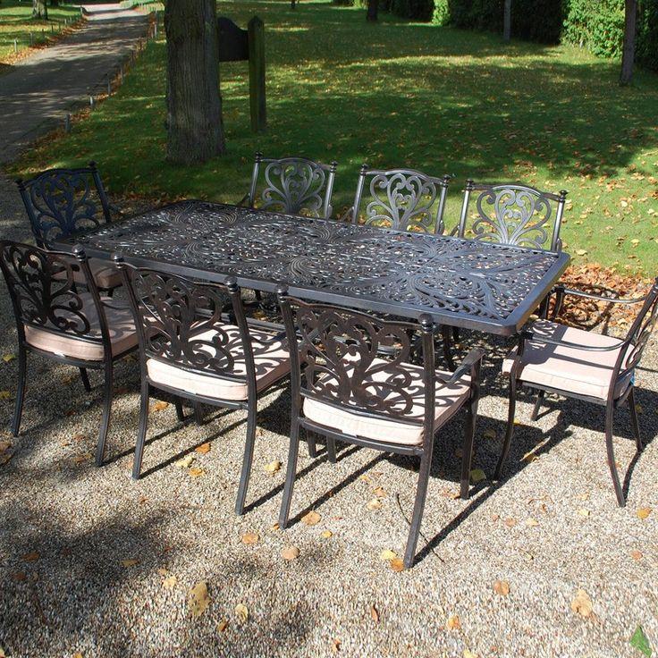 devon rectangular 8 seat dining set cast iron outdoor furniture great for large dinner