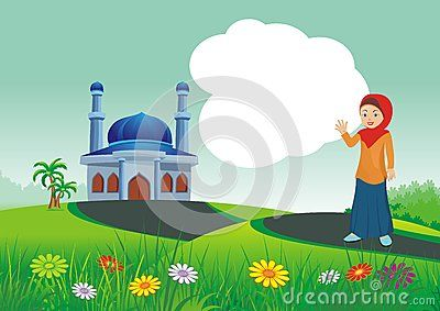 HoIslamic cartoons, with mosque and beautiful natural scenery,  beautiful view…