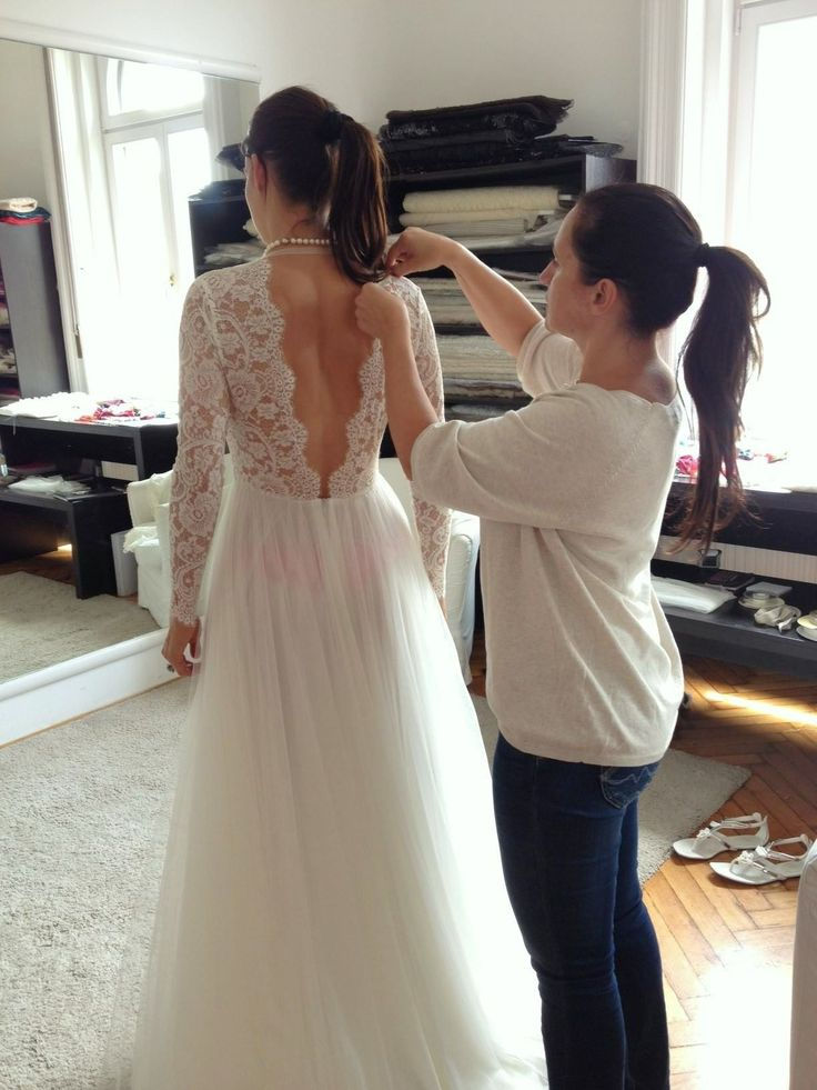 Long-sleeve lace Daalarna Couture wedding dress in progress
