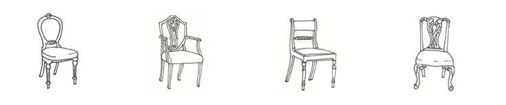 Sillas antiguas. De izq. a der.: Victoriana | Respaldo de Escudo Hepplewhite | Regency | Neo-Chippendale..