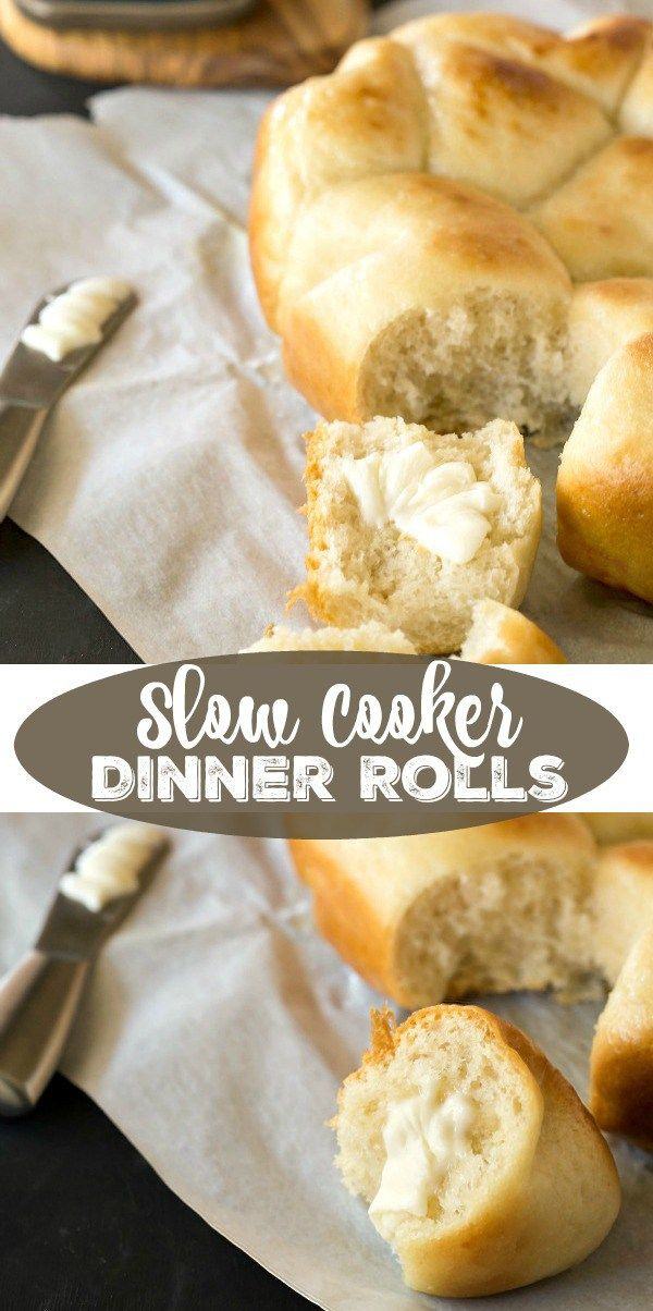 Slow Cooker Dinner Rolls.  Ingredients:  sugar, active dry yeast, butter, flour and salt.  Cook on HIGH for 1 1/2 hours.  ◙◙◙◙◙