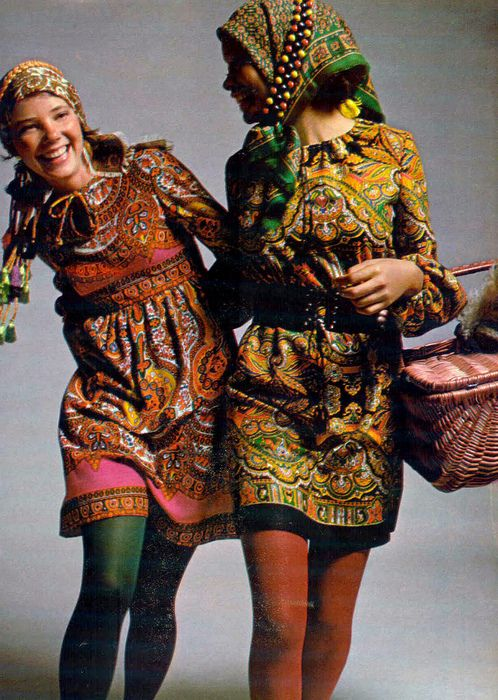Two 1970s gals who's outfits channel a Russian folk costume vibe. #1970s #Russia #folk #peasant #costume #vintage #retro #headscarf