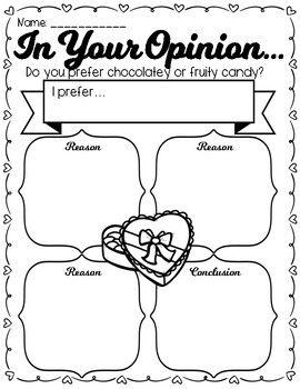 Valentine's Day Opinion Graphic Organizer + Final Draft