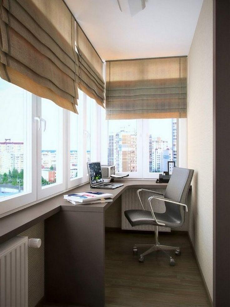дизайн кабинета совмещенного с лоджией (Office loggia Style)