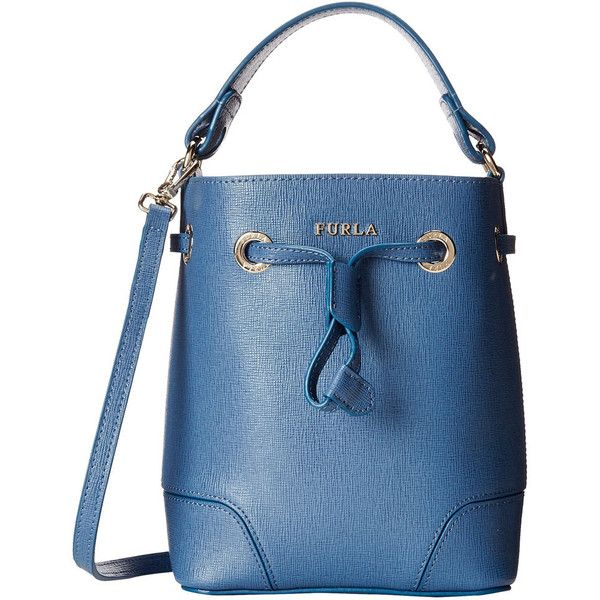 Furla Stacy Indaco Blue Mini Drawstring Handbag found on Polyvore featuring bags, handbags, tote bags, leather tote purse, structured leather tote, leather bucket bag, blue leather tote and leather tote handbags