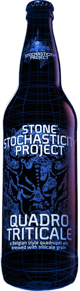 Stone Stochasticity™ Project Quadrotriticale.  9.3ABV 40IBU.  Trappist style brewed with triticale grain for less sweetness and more spice.  Tons of brown sugar and malt.  For me it was OK, but if you are a fan of the style it is a must try.