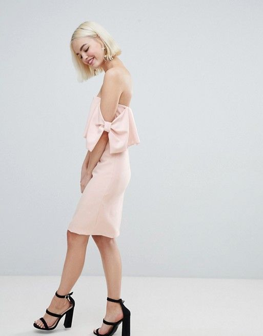 a93c8bd4af0 New Look Bow Sleeve Midi Dress from ASOS  valentinesday Going Out Dresses