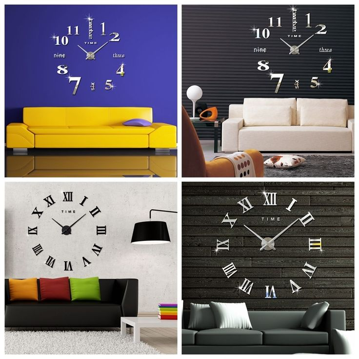 Modern Diy Analog 3D Wall Clock Alloy Surface Large Number Sticker Home Decor Us