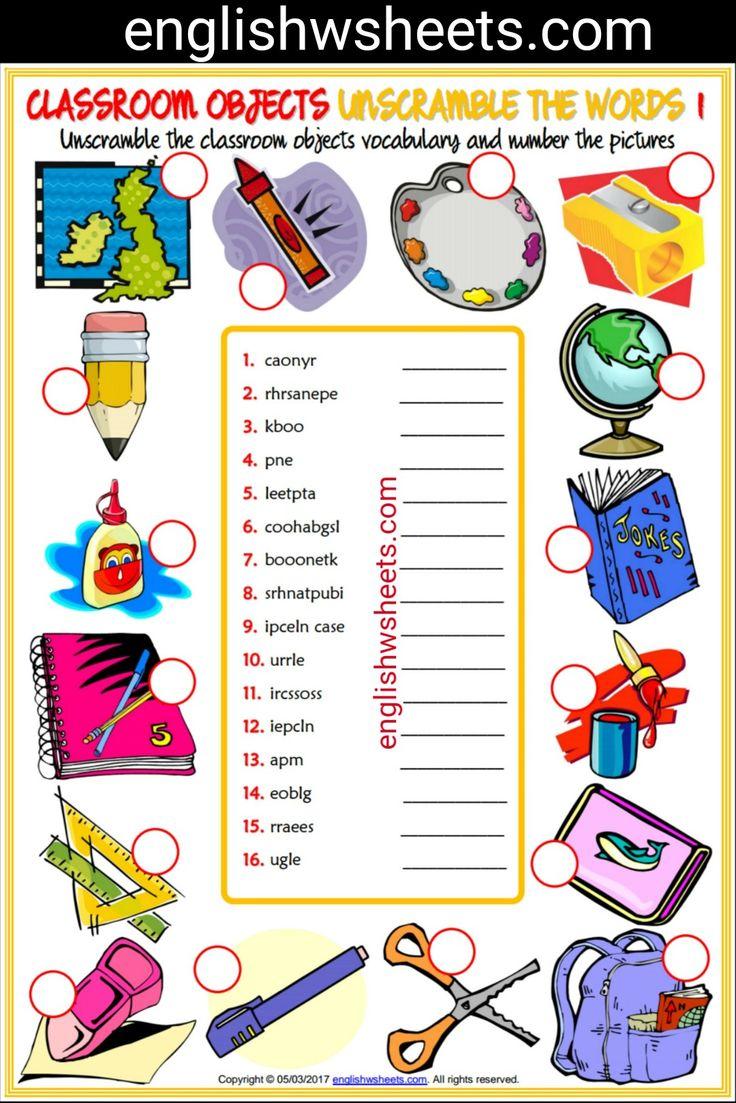 Classroom Decoration Word Worksheet ~ Classroom objects esl printable unscramble the words