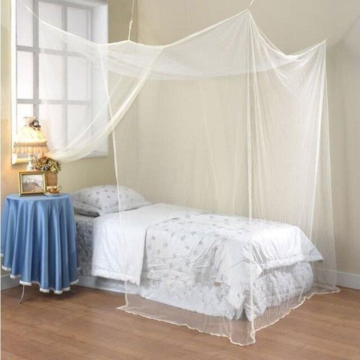 4 Corner Post Bed Canopy Mosquito Net Full Queen King Size Netting Bedding White…