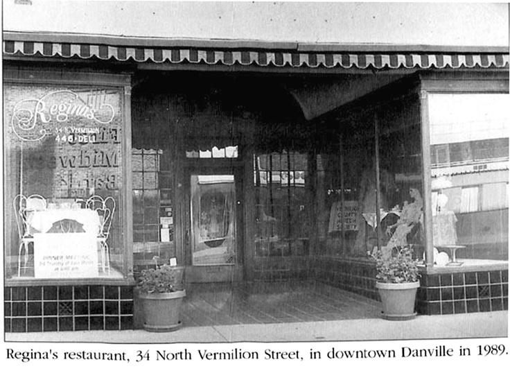 Regina's Restaurant, 34 North Vermilion Street, in downtown Danville in 1989.