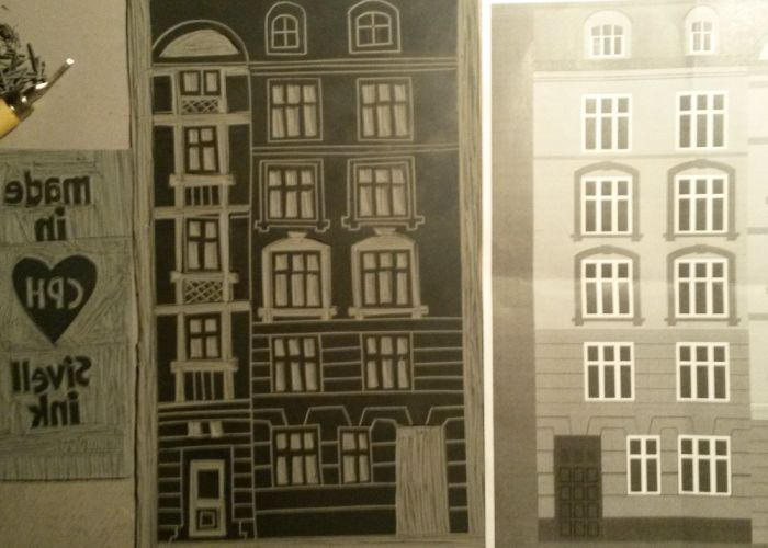 My first linocut - An apartment in Østerbro