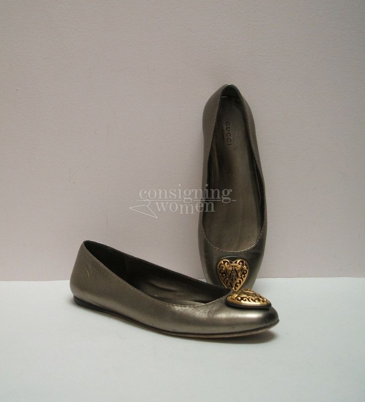 Gucci 209431 pewter leather flats, gold tone Hysteria heart crest, dust bags, size 37.5 ~ 7.5 #Gucci #flats