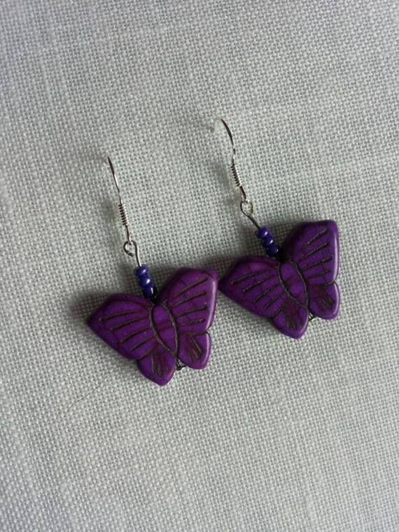 mariposa lila, Bisutería, Pendientes