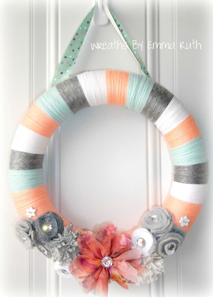 Spring Coral & Tiffany Blue Yarn Wreath. $20.00, via Etsy.