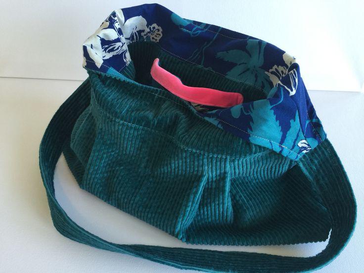 Handmade handbag. Teal corduroy with vintage blue large flower print fabric.