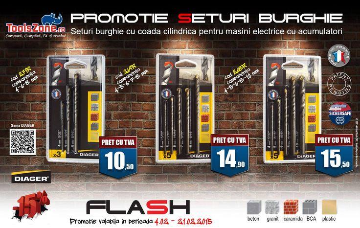 Promotie seturi burghie pentru zidarie ideale pentru utilizare pe masini electrice cu acumulator Promotie valabila in perioada 4.02-21.02.2015