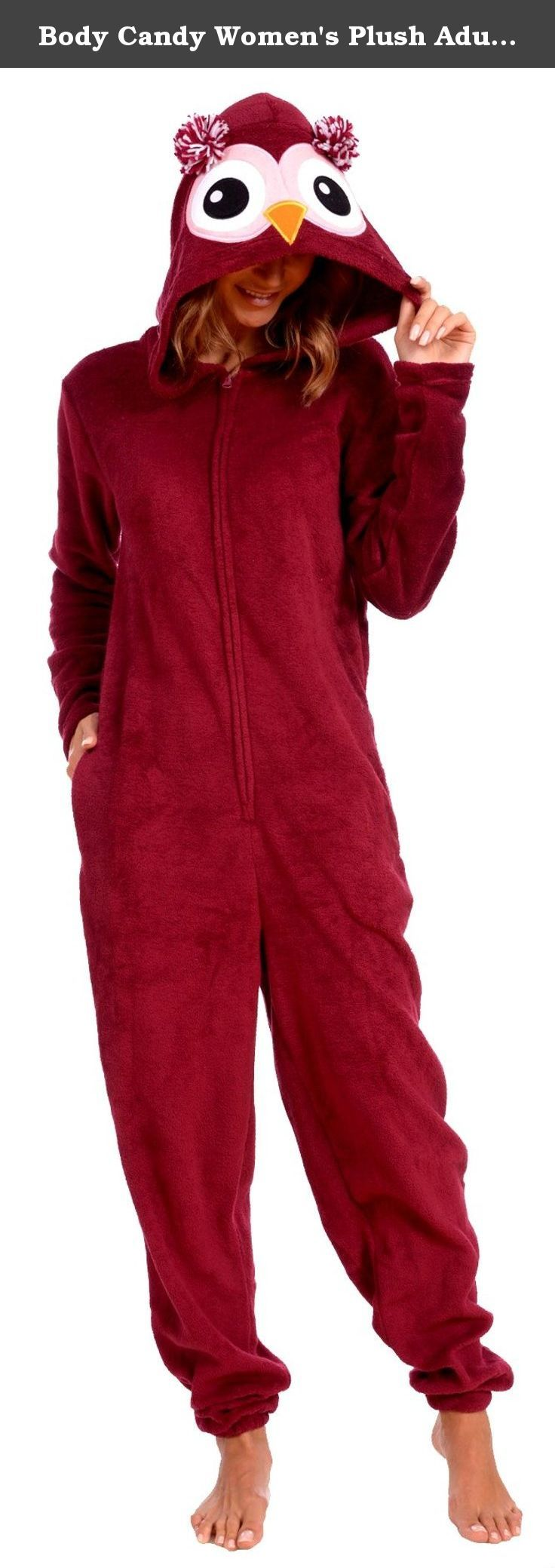 """Body Candy Women's Plush Adult Animal Hood Onesie Pajama (Owl, Small). Your winter wardrobe isn't complete without this cozy women's huggable plush onesie by Body Candy Loungewear. With an ultra soft and cozy fit, this plush adult onesie will keep you warm on the coldest of days. Front-zip hooded pajama jumpsuit comes in adorable colors that will brighten up your day! Choose from a variety of fun playful styles and prints. Click """"Body Candy Loungewear"""" to view our entire collection of..."""