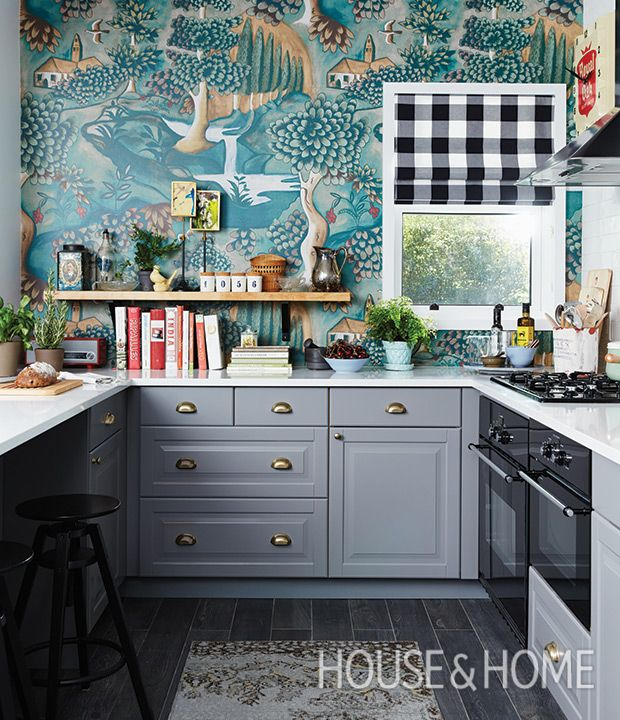 Fairytale-like Zoffany wallpaper steals the show in this Ikea kitchen makeover. | Design: Sarah Hartill Photo: Michael Graydon