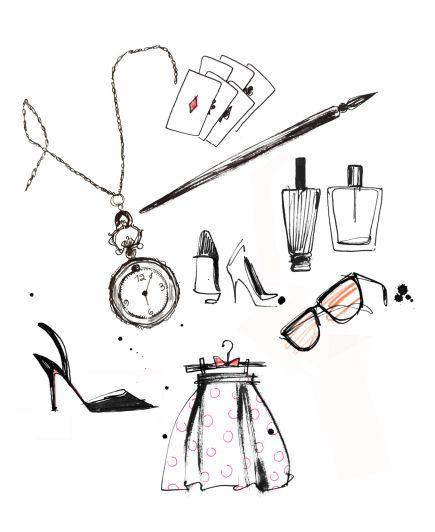 Fashion illustrator Lovisa Burfitt. Ink, watercolor crayon. Illustratrice de mode Illustrations dessinées à la main. Encre, aquarelle. H&M Nordstrom Sephora Mademoiselle Oiseau