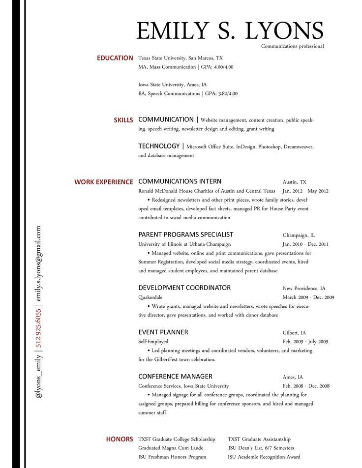 Short Resume Samples | Comm Tool Box | The Communications Resume