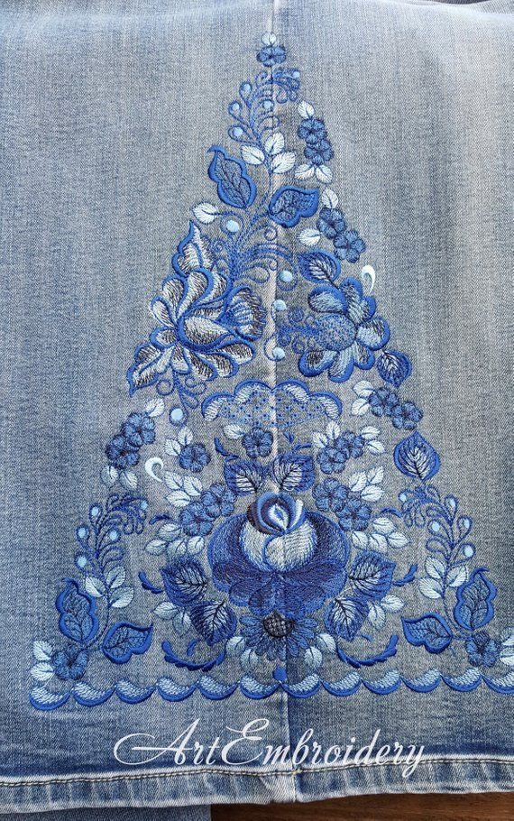 Gzhel Jeans Machine Embroidery Designs Set for hoop 7x9 Gzhel, Blue Flower, Russian Folk Floral Ornament
