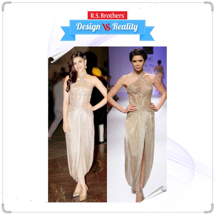 #Design vs #Reality #KritiSanon looks #Flawless in a Gold Knitted mesh embroidered Dhoti Gown by #Sonaakshi Raaj. How Much Would you Rate for her Style out of 5? (Image copyrights belong to their respective owners)