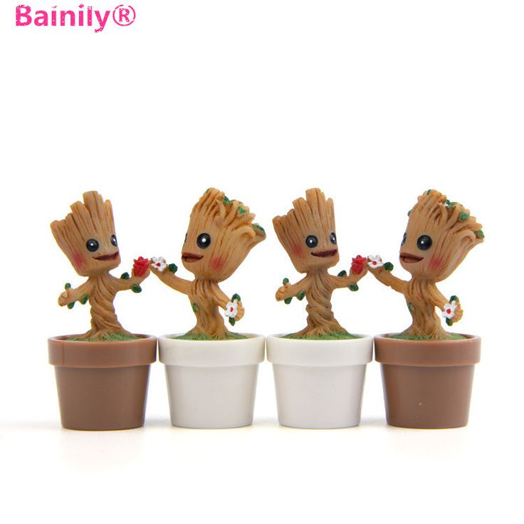 [Bailey]1Pcs New Moss Terrarium Deco Toy Galactic Guard Groot Bobble Head Groot Marvel Model Tree Man Action Figure Toys