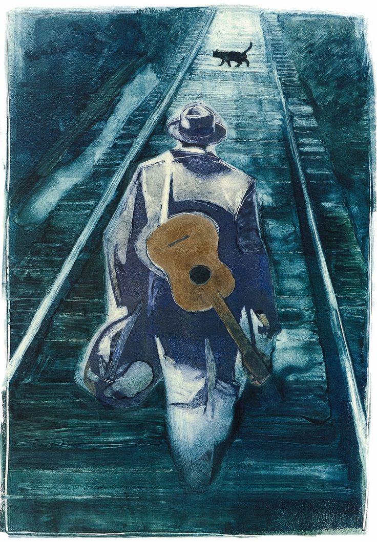 "Gary Kelley - from ""Black Cat Bone: The Life of Blues Legend Robert Johnson"" -  Monotype - 2006"