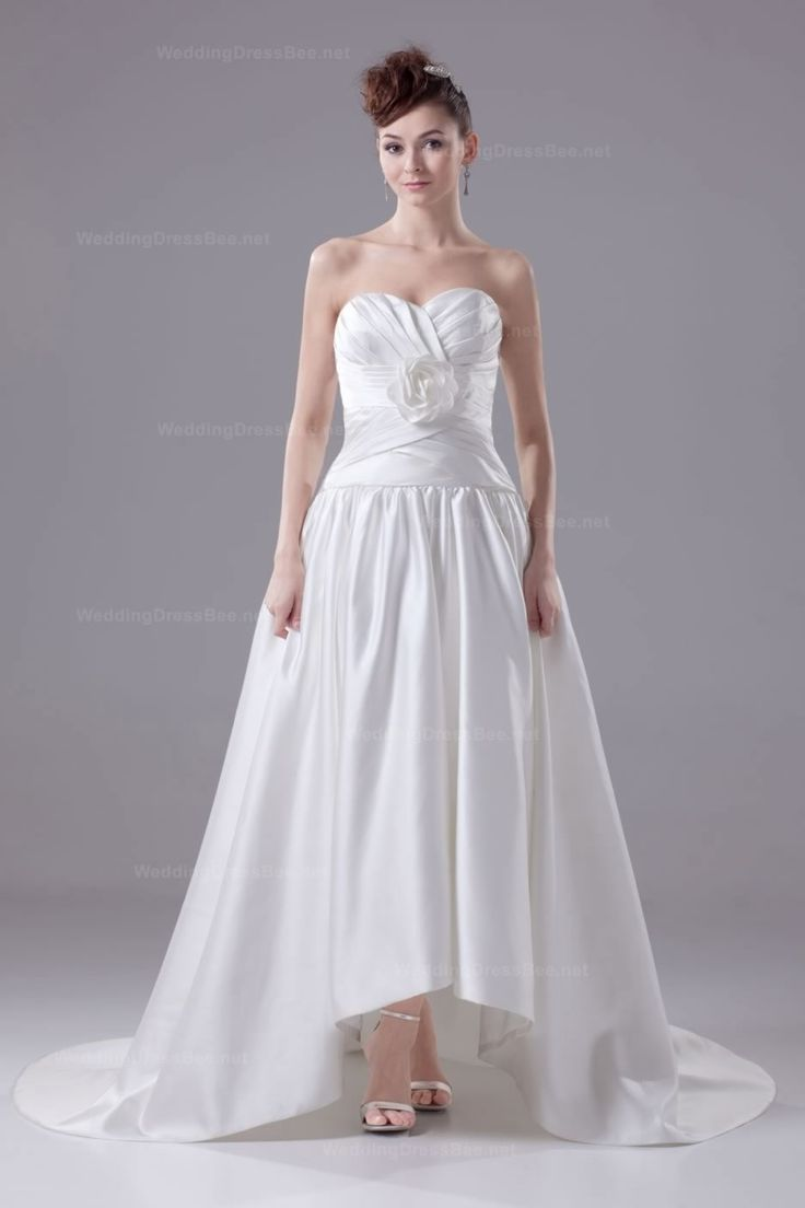 Superb Charming Sweetheart Flower Ruched Top High Low Wedding Dress