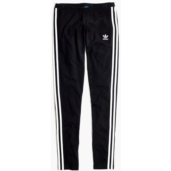 MADEWELL Adidas® Originals 3-Stripes Leggings found on Polyvore featuring pants, leggings, bottoms, pantaloni, true black, striped pants, stretch trousers, madewell, legging pants and stripe pants