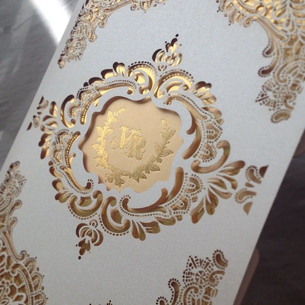 Laser cut lace inspired wedding invitation in gold and white | Atelier Isabey