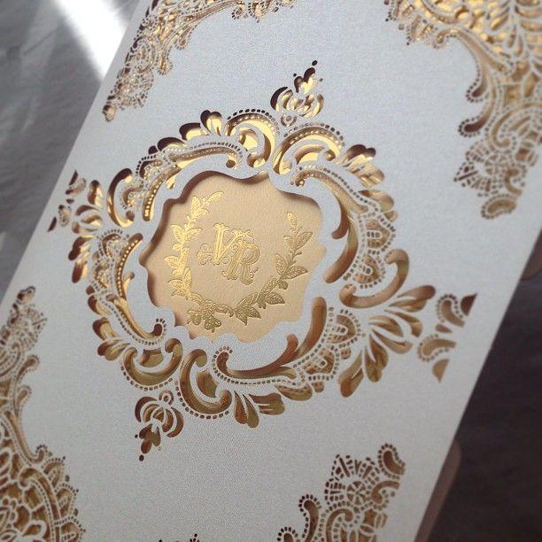 .@Margot D.S. D.S. Hallac | Gold foils + laser cutting = perfection #weddinginvitation #laser #gold #grap...
