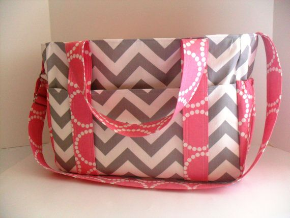 Extra Large Diaper bag Made of Gray Chevron Fabric  by fromnancy, $106.00