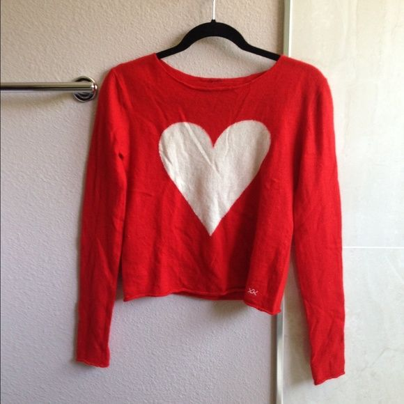 BANJO AND MATILDA Heart-intarsia cashmere sweater 100% cashmere / cream fine-knit cashmere, knit gauge 14GG / worn once Banjo and Matilda Sweaters
