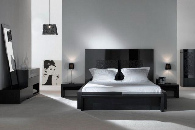 Deco Moderne Noir Blanc Chambre A Coucher Grand Lit En 2019