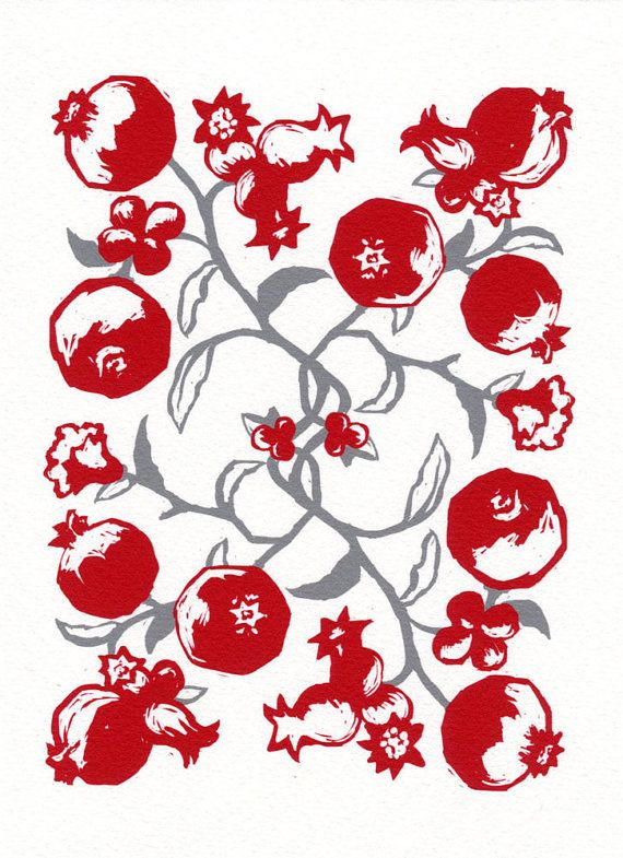 Pomegranate Red & Grey Print by MaywoodArt on Etsy