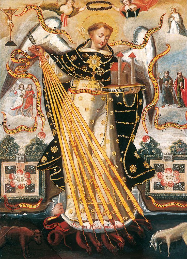 Santo Tomas de Aquino, Protector de la Universidad de Cuzco (St. Thomas Aquinas, Protector of the Univ. of Cuzco); Museo de Arte de Lima, Peru, 17th century.  January 28 is the Feast of the Angelic Doctor.    I like Thomas Aquinas