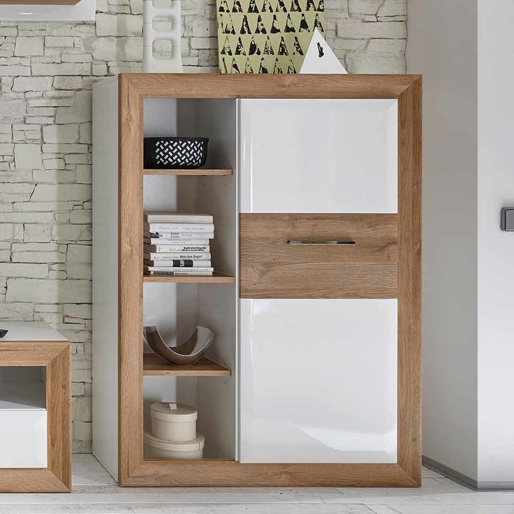 Highboard in Eiche Weiß Hochglanz mit offenen Fächern Jetzt bestellen unter: https://moebel.ladendirekt.de/wohnzimmer/schraenke/highboards/?uid=797ad678-605c-5893-891c-88290010f007&utm_source=pinterest&utm_medium=pin&utm_campaign=boards #esszimmerschrank #highboards #highbord #schraenke #wohnzimmerschrank #wohnzimmerkommode #esszimmerkommode #wohnzimmer #kommode #esszimmer #highboard #schrank