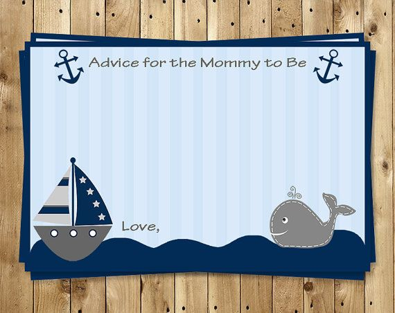 Nautical Advice Cards Baby Shower Ahoy Its a by TheInviteLadyShop