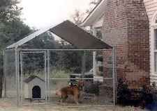 DOG Kennel Cover House Outdoor Fence Large Metal Playpen Silver Roof 10X10 Door