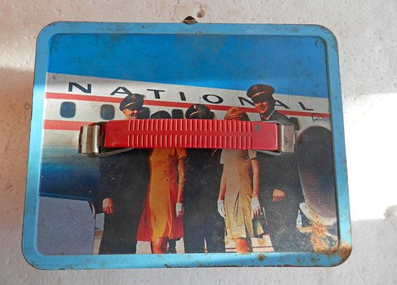 metal vintage lunch box airlines pan am american airlines, northwest orient, lufthansa, united, contental airlines, eastern, air canada by BandCEmporium