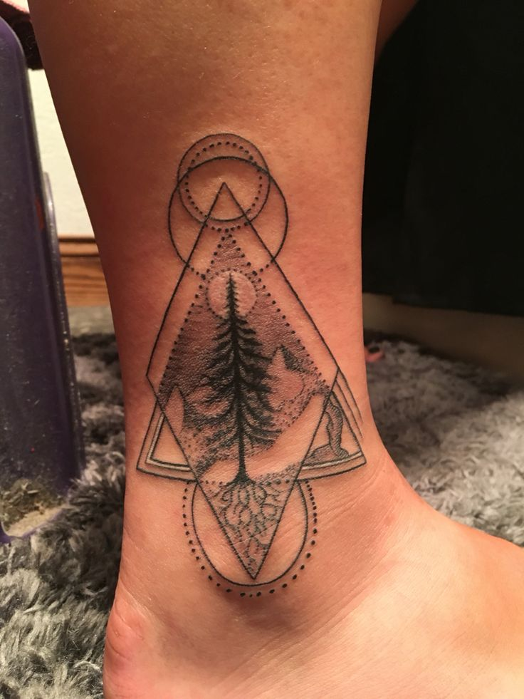 """Ill ways venture out but I'll never forget my roots"" 1988 is written in the roots for the year of my parents marriage. tattoo nature roots tree geometric circles mountains shapes dots ankle small lines moon"