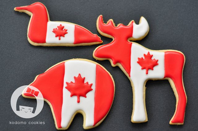 Canada Day Loon, Moose & Polar Bear - Any good sugar cookie recipe would work well for these. Sorry no recipe was given.