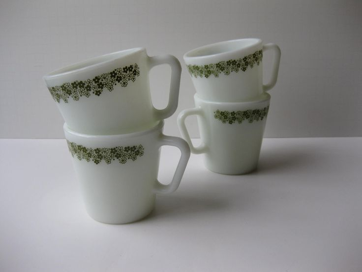 Items Similar To Pyrex Coffee Mugs Spring Blossom Set Of Four Vintage Cottage Style On Etsy
