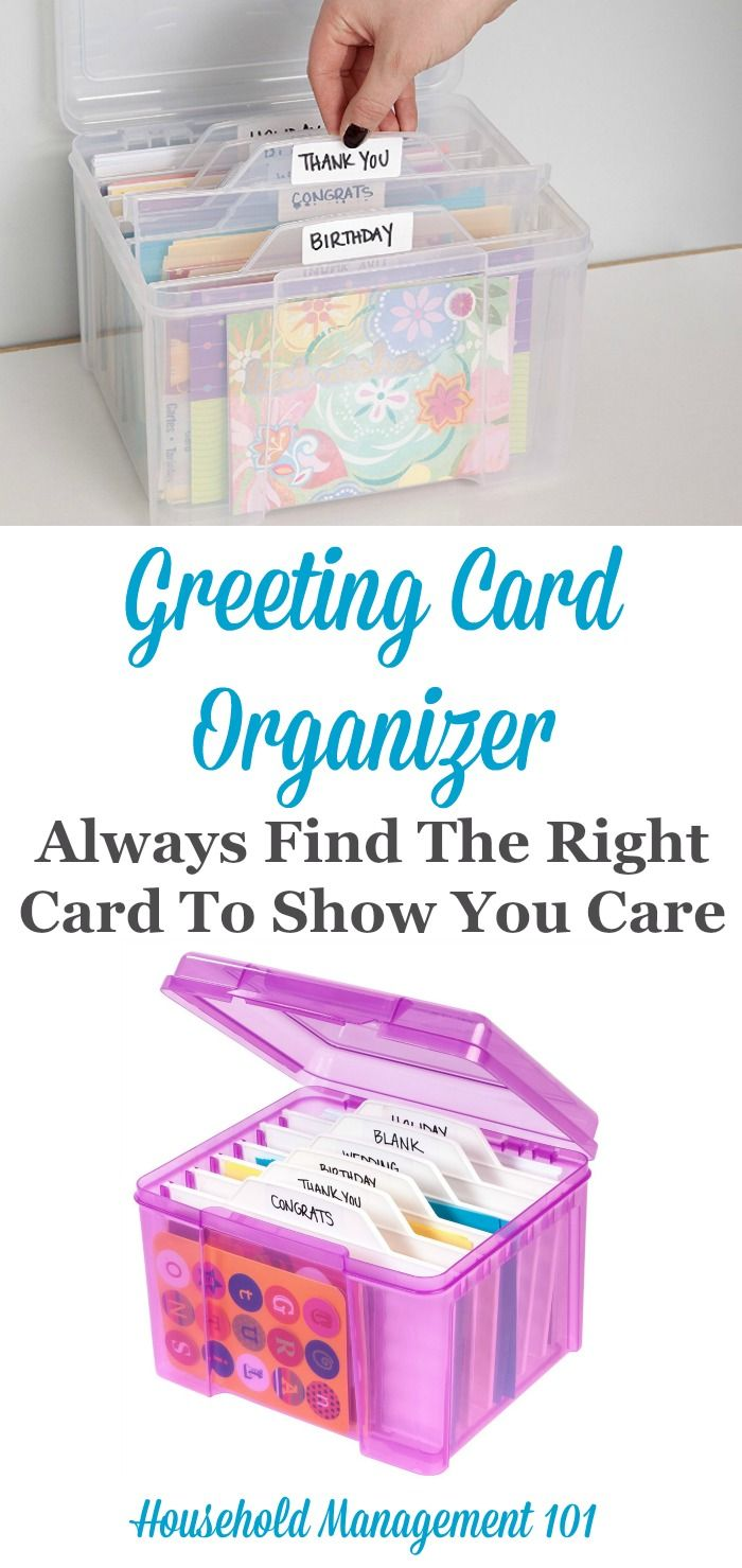 Do you like to stock up on greeting and birthday cards so you always have some on hand for special occasions? If so, use a greeting card organizer to keep them categorized and at your fingertips for whenever a loved one has a celebration or needs a card.