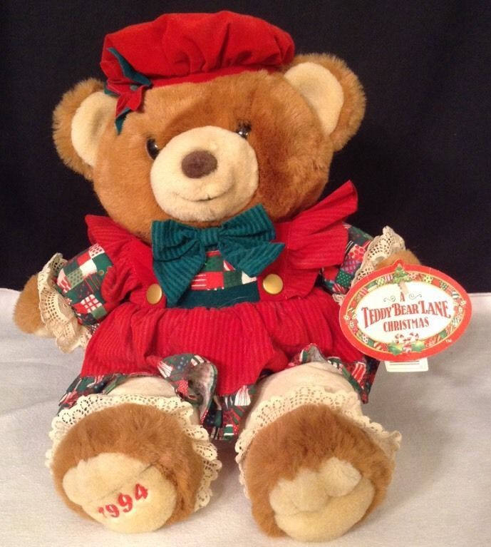 NEW Vtg Kmart 1996 Christmas 10th Anniversary LE Teddy Bear Plush LG ...