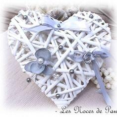 Porte alliances blanc et gris orchidée cœur mariage a
