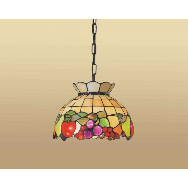 Lampada Tiffany a Sospensione con sfondo Giallo e fantasia a Frutta. Diametro da 30, 45 o 55 cm